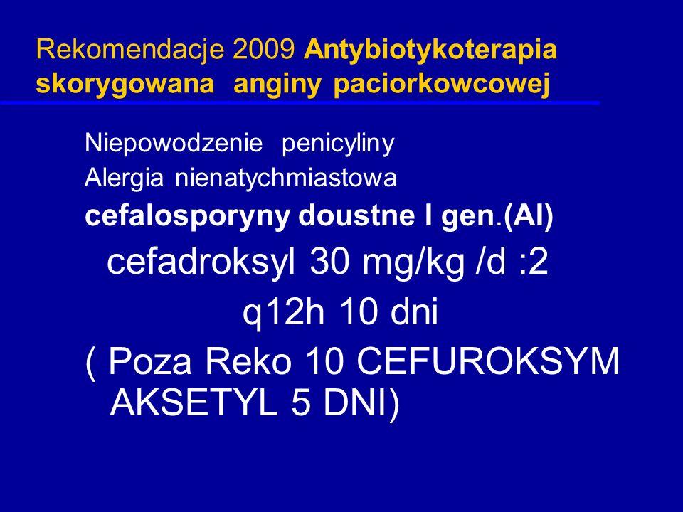 Rekomendacje 2009 Antybiotykoterapia skorygowana anginy paciorkowcowej