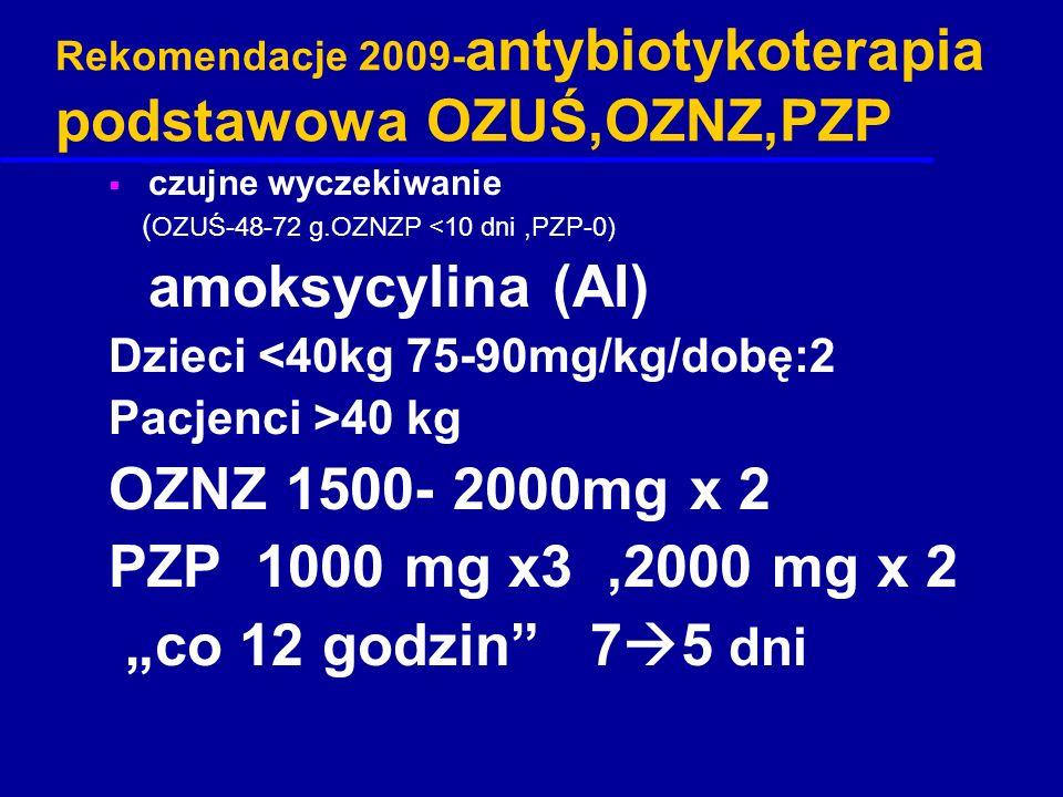 Rekomendacje 2009-antybiotykoterapia podstawowa OZUŚ,OZNZ,PZP