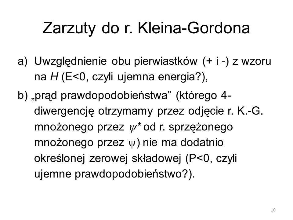 Zarzuty do r. Kleina-Gordona