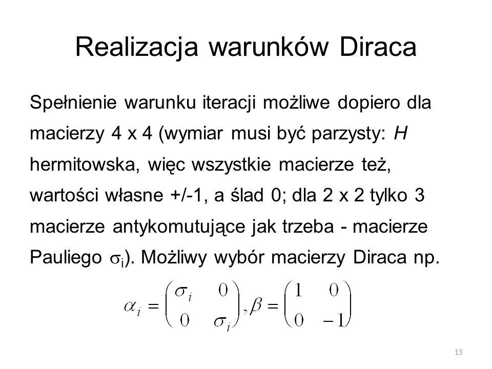Realizacja warunków Diraca