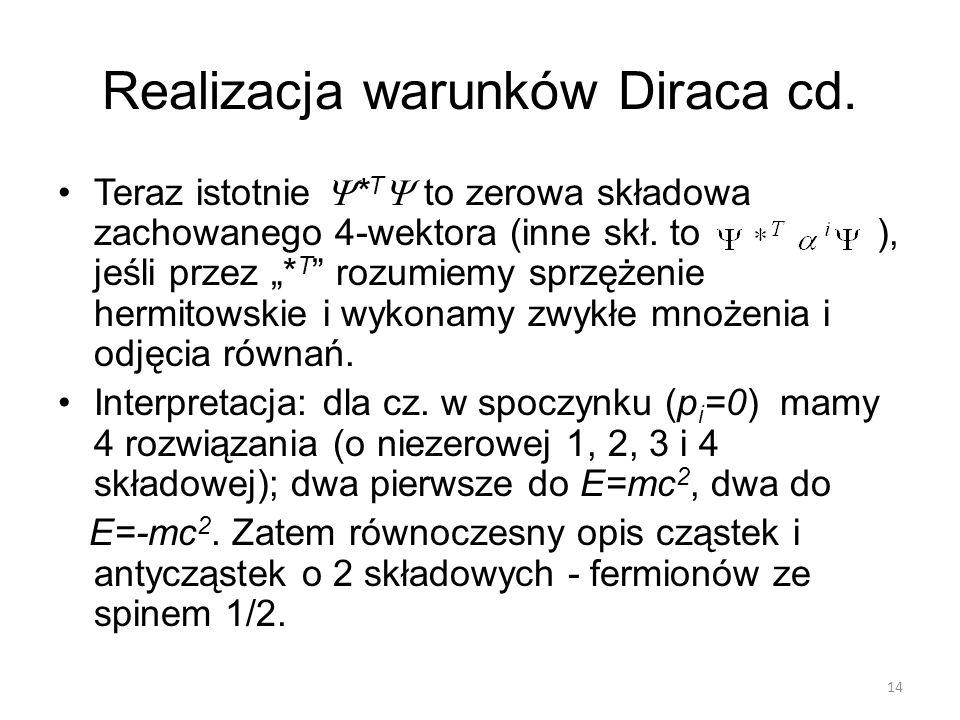 Realizacja warunków Diraca cd.
