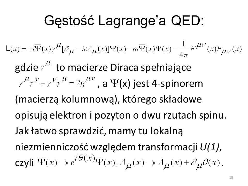 Gęstość Lagrange'a QED: