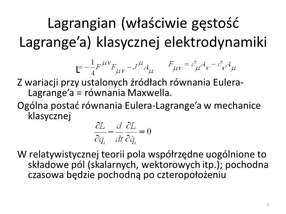 Lagrangian (właściwie gęstość Lagrange'a) klasycznej elektrodynamiki
