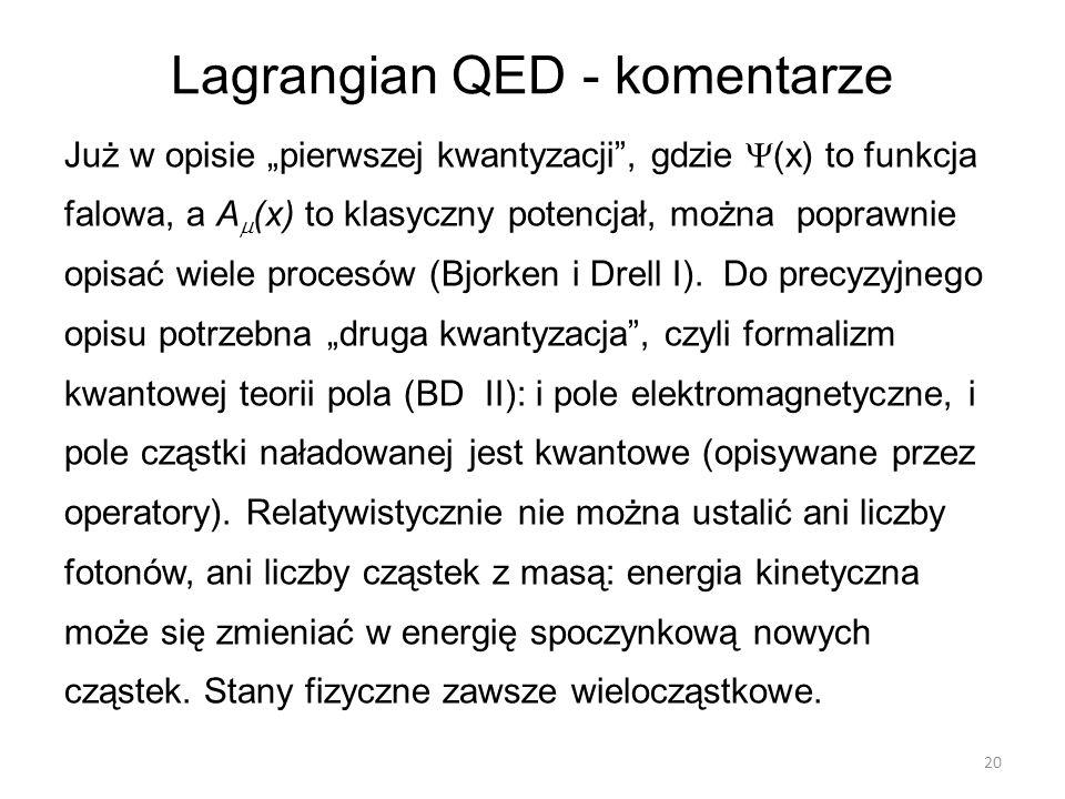 Lagrangian QED - komentarze