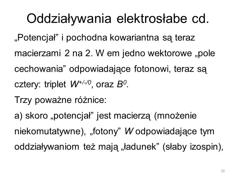 Oddziaływania elektrosłabe cd.