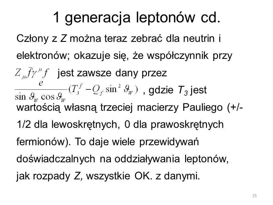 1 generacja leptonów cd.