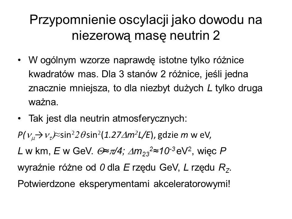 Przypomnienie oscylacji jako dowodu na niezerową masę neutrin 2