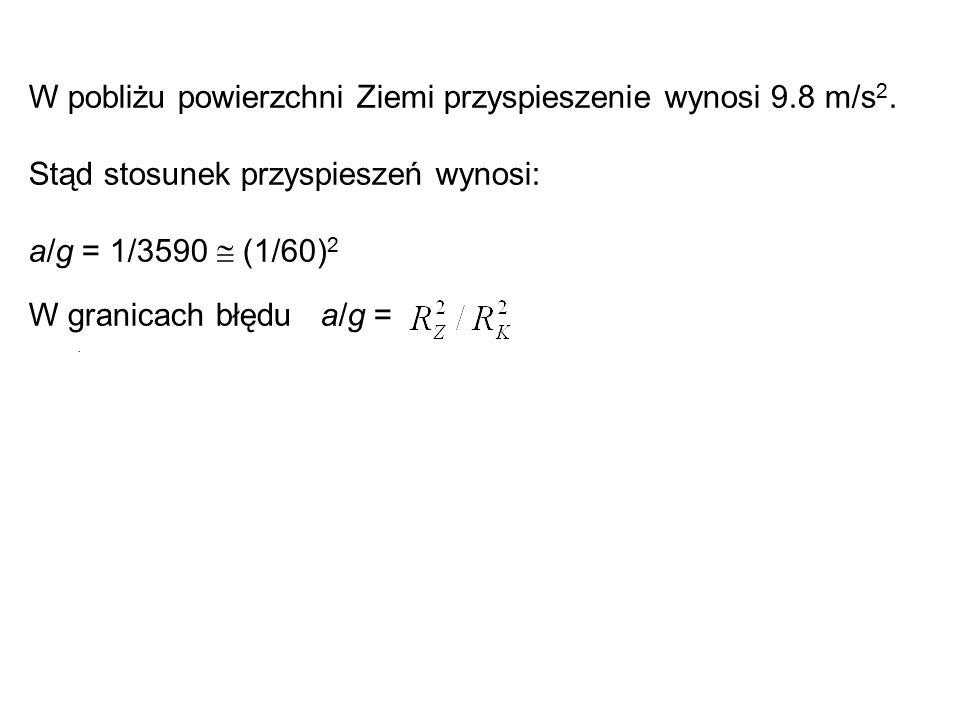 W pobliżu powierzchni Ziemi przyspieszenie wynosi 9.8 m/s2.