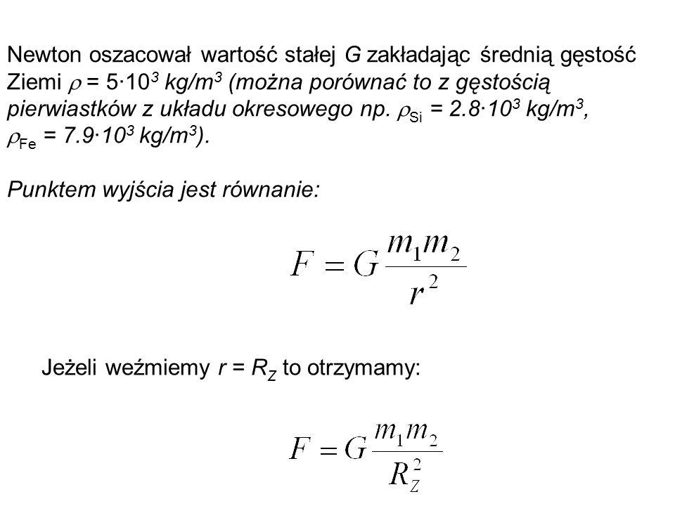Newton oszacował wartość stałej G zakładając średnią gęstość