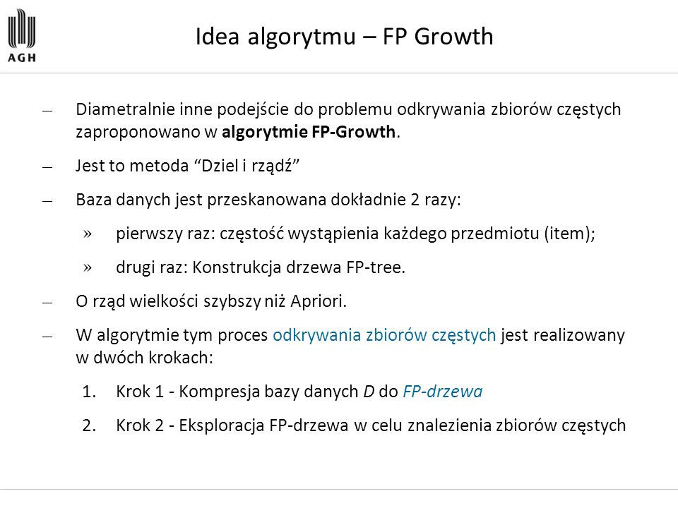 Idea algorytmu – FP Growth