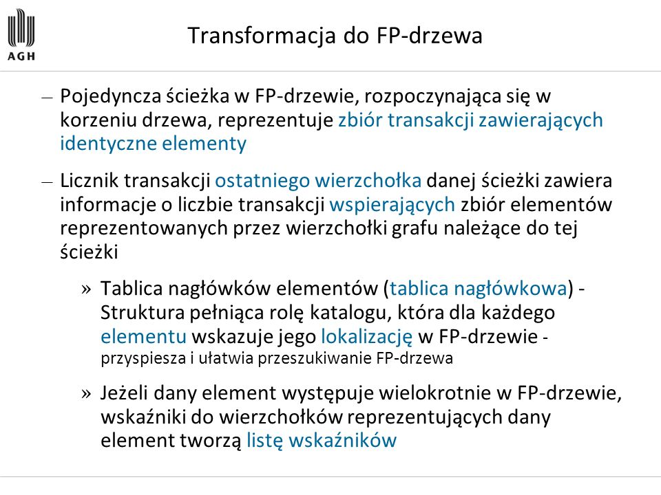 Transformacja do FP-drzewa