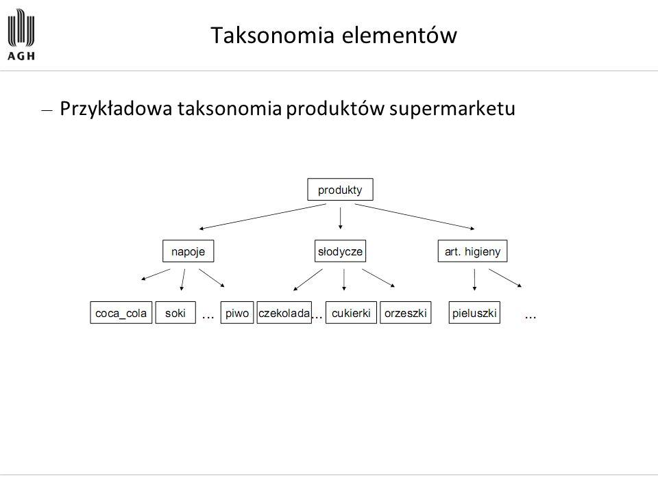 Taksonomia elementów Przykładowa taksonomia produktów supermarketu