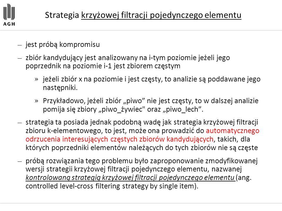 Strategia krzyżowej filtracji pojedynczego elementu