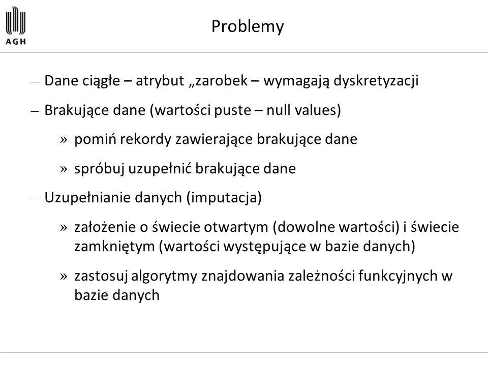 """Problemy Dane ciągłe – atrybut """"zarobek – wymagają dyskretyzacji"""