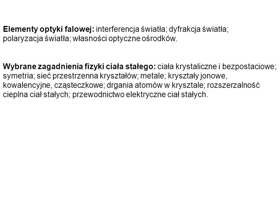Elementy optyki falowej: interferencja światła; dyfrakcja światła;