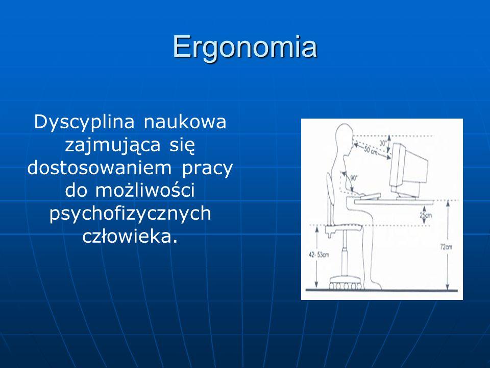 Ergonomia Dyscyplina naukowa zajmująca się dostosowaniem pracy do możliwości psychofizycznych człowieka.