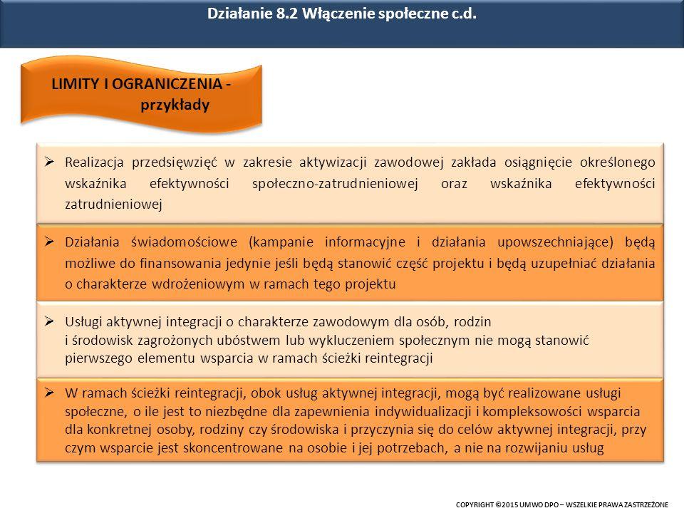Działanie 8.2 Włączenie społeczne c.d.