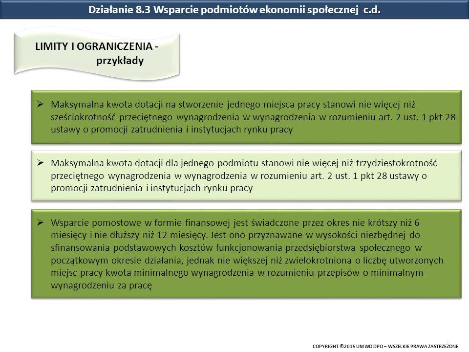 Działanie 8.3 Wsparcie podmiotów ekonomii społecznej c.d.