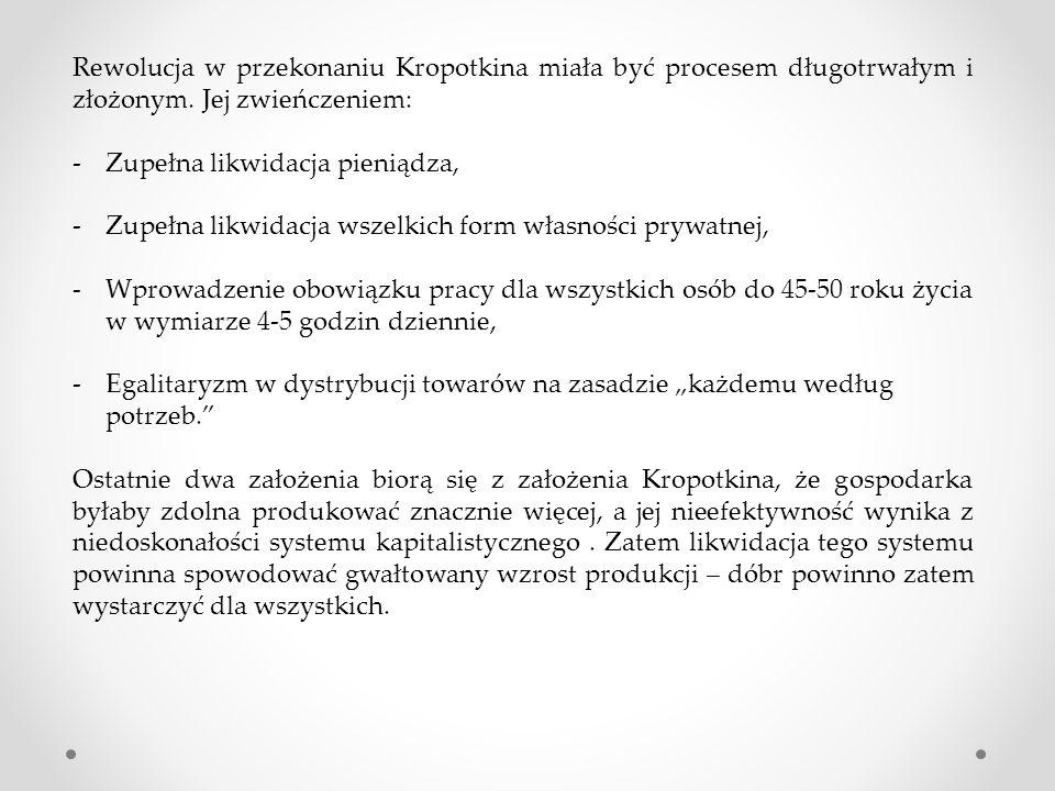 Rewolucja w przekonaniu Kropotkina miała być procesem długotrwałym i złożonym. Jej zwieńczeniem: