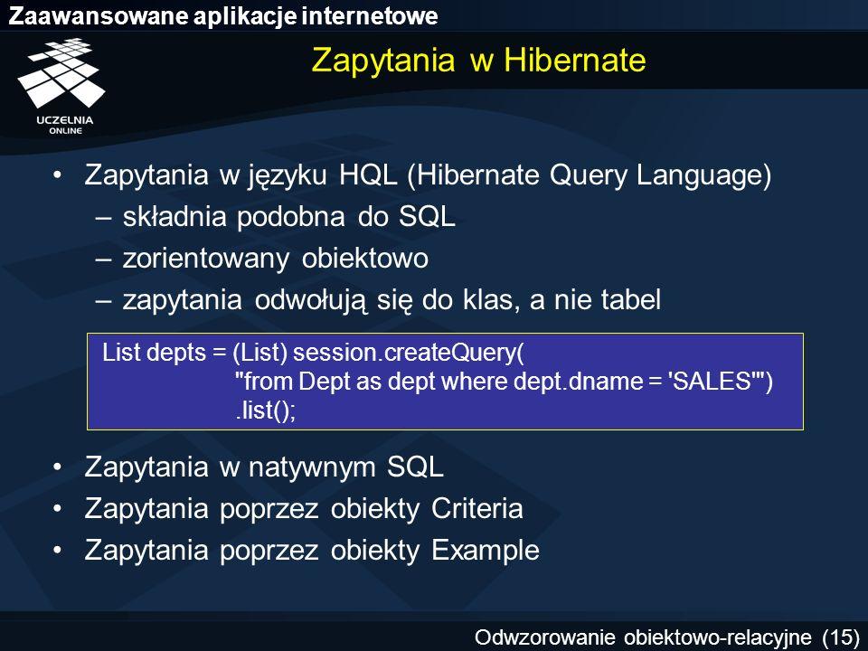 Zapytania w Hibernate Zapytania w języku HQL (Hibernate Query Language) składnia podobna do SQL. zorientowany obiektowo.