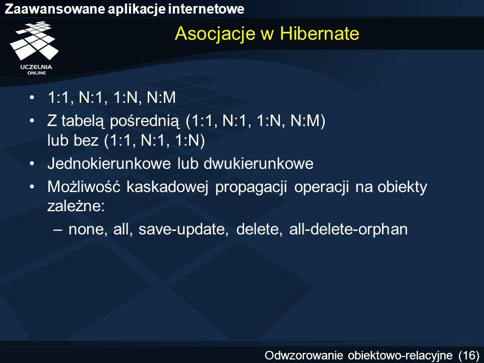 Asocjacje w Hibernate 1:1, N:1, 1:N, N:M