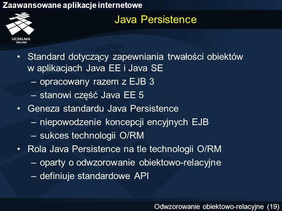 Java Persistence Standard dotyczący zapewniania trwałości obiektów w aplikacjach Java EE i Java SE.