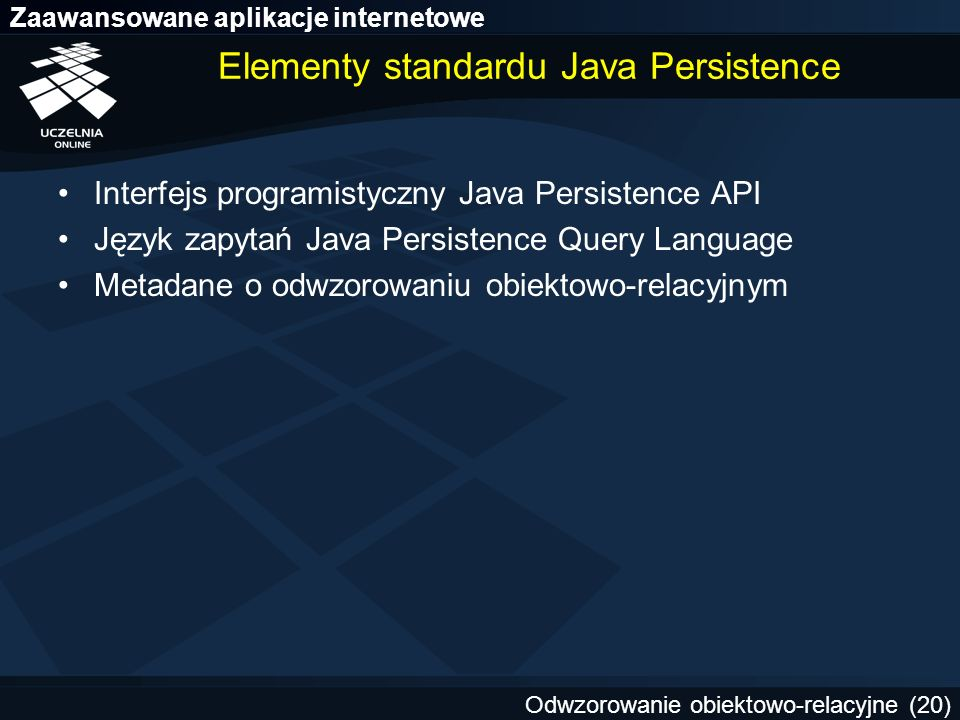 Elementy standardu Java Persistence