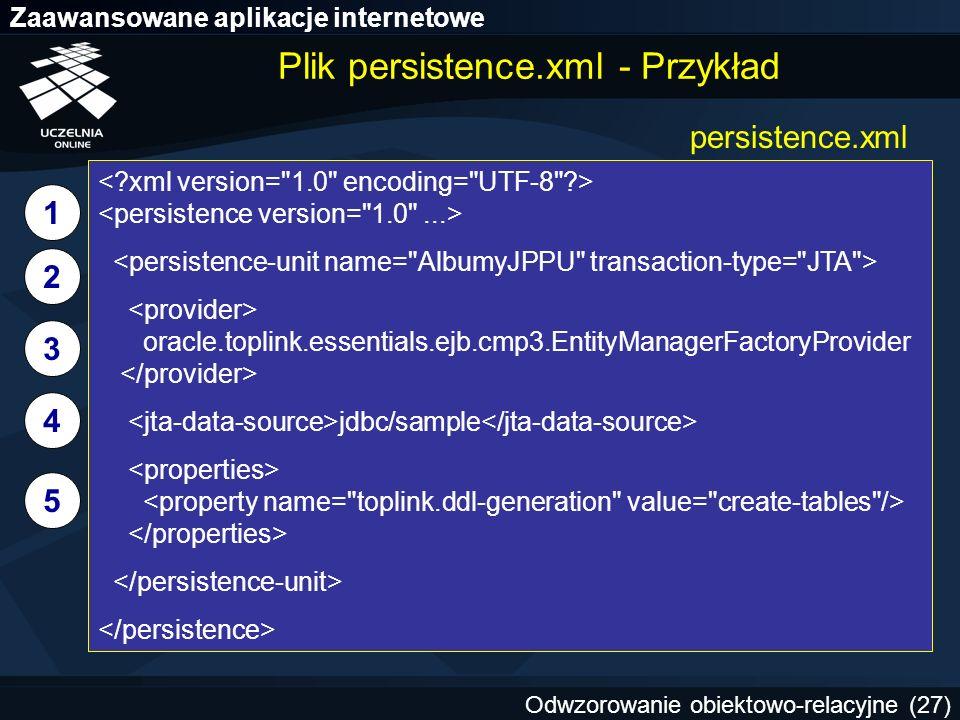 Plik persistence.xml - Przykład