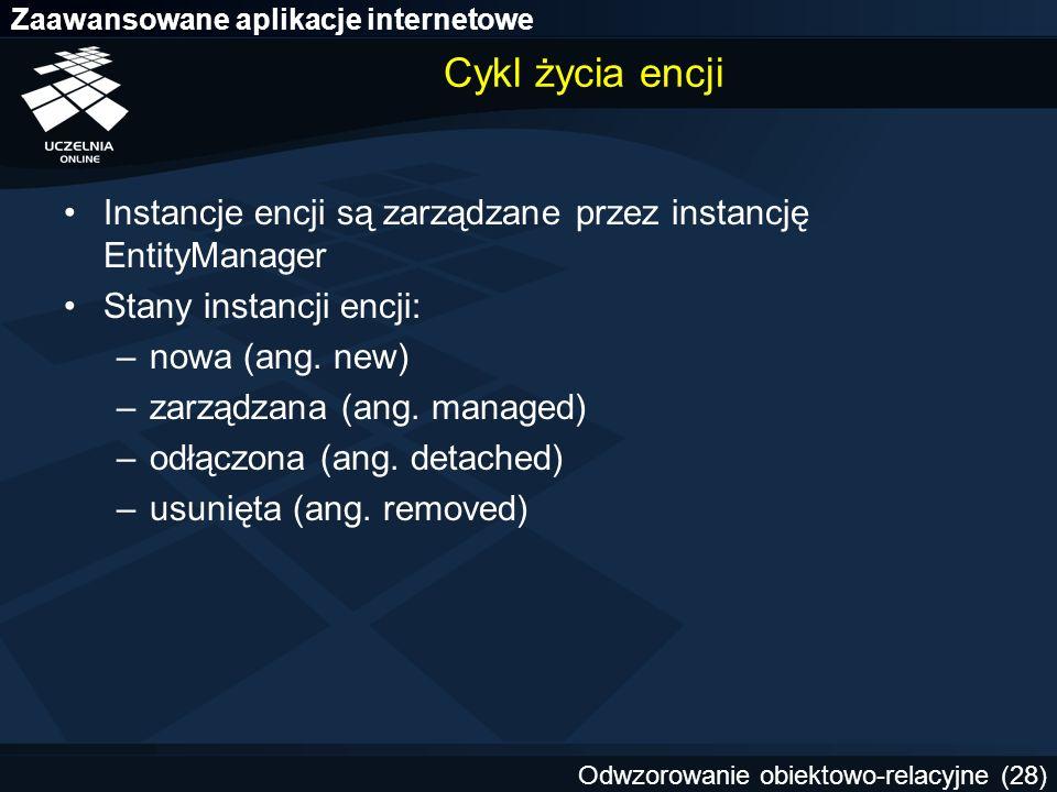 Cykl życia encji Instancje encji są zarządzane przez instancję EntityManager. Stany instancji encji: