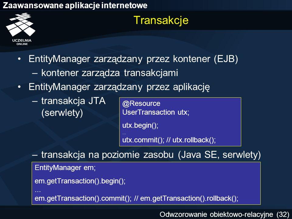 Transakcje EntityManager zarządzany przez kontener (EJB)