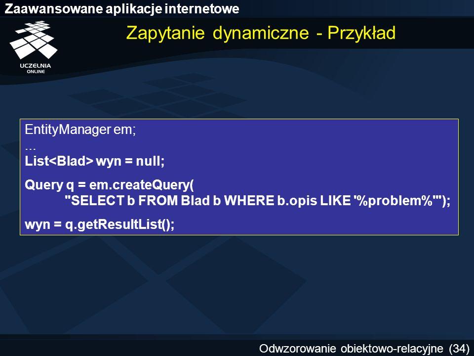 Zapytanie dynamiczne - Przykład