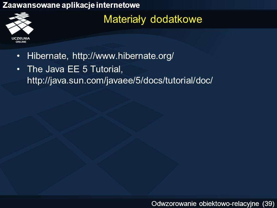 Materiały dodatkowe Hibernate, http://www.hibernate.org/