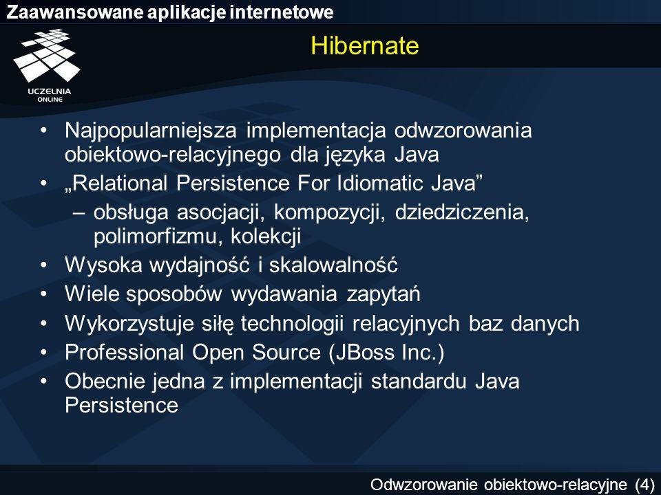 """Hibernate Najpopularniejsza implementacja odwzorowania obiektowo-relacyjnego dla języka Java. """"Relational Persistence For Idiomatic Java"""