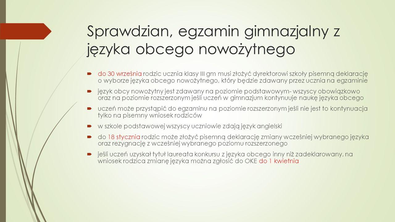 Sprawdzian, egzamin gimnazjalny z języka obcego nowożytnego