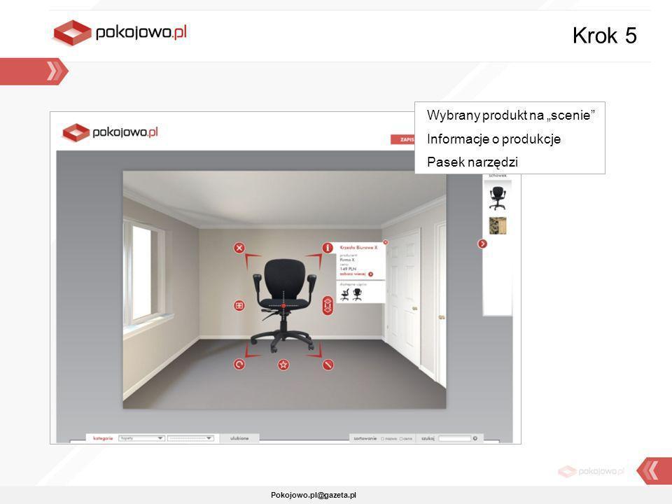"""Krok 5 Wybrany produkt na """"scenie Informacje o produkcje"""