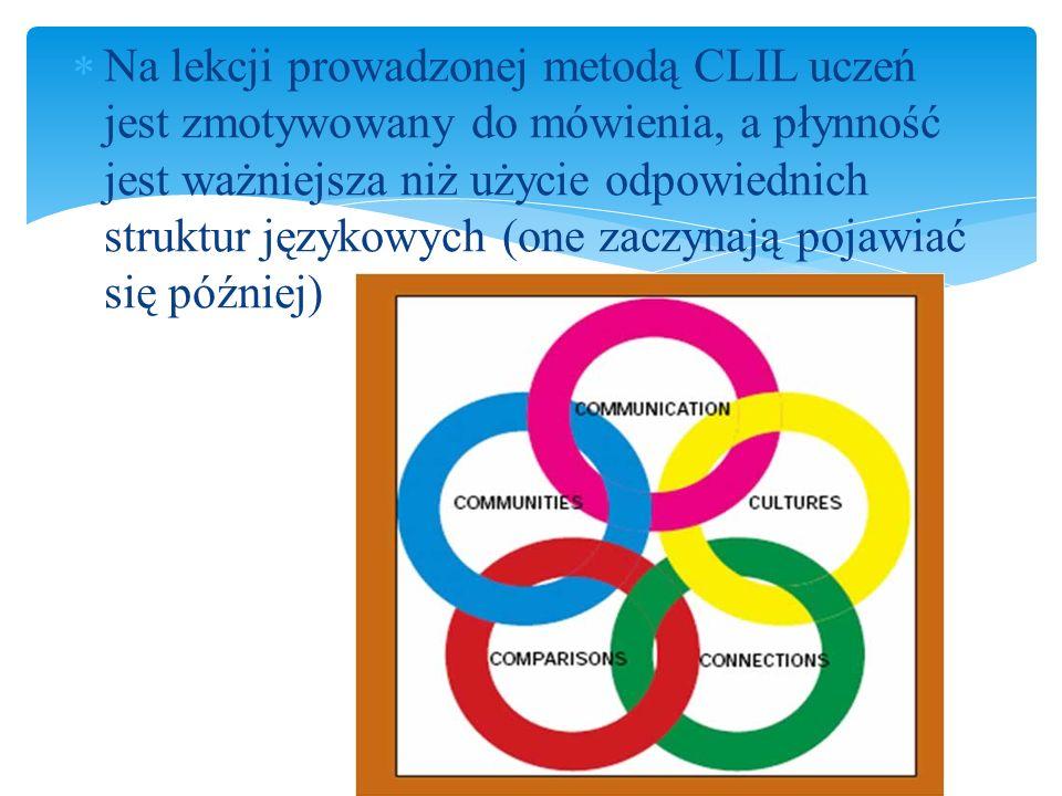Na lekcji prowadzonej metodą CLIL uczeń jest zmotywowany do mówienia, a płynność jest ważniejsza niż użycie odpowiednich struktur językowych (one zaczynają pojawiać się później)
