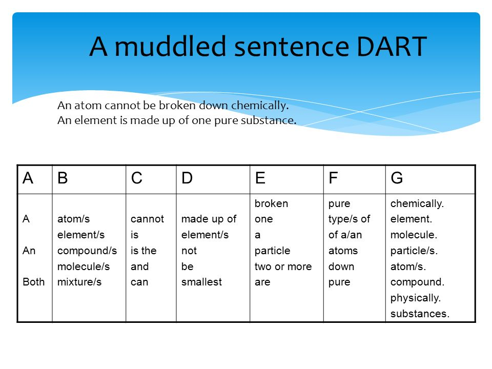 A muddled sentence DART