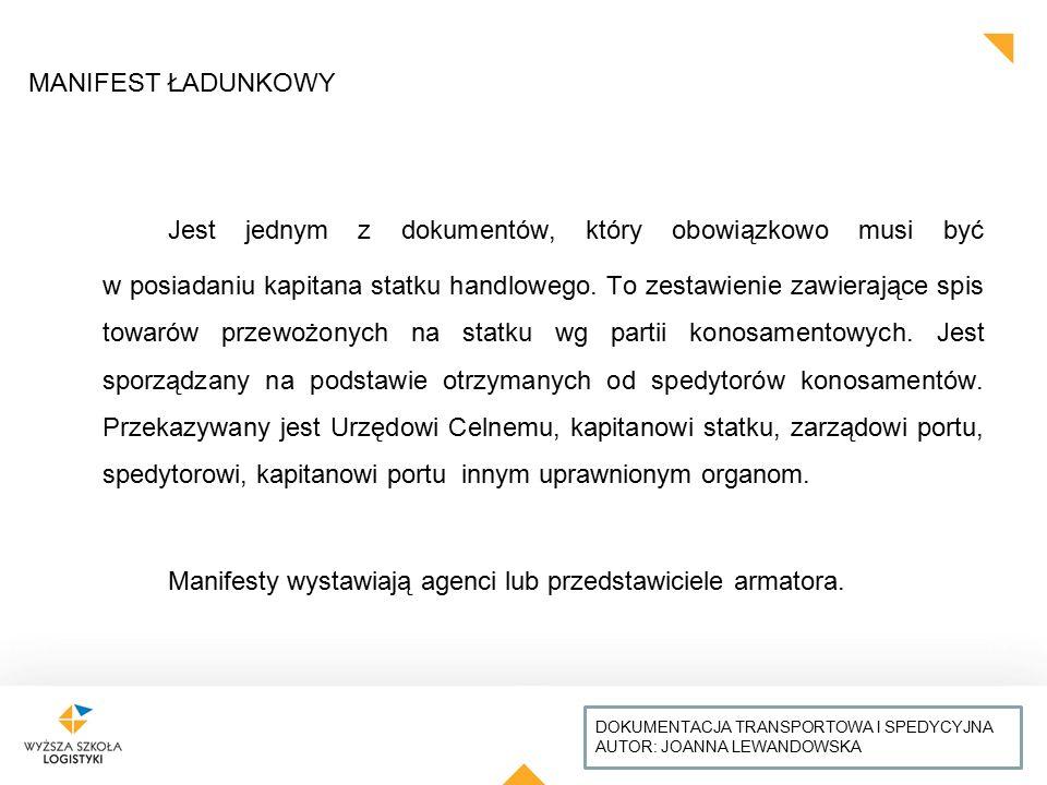 MANIFEST ŁADUNKOWY