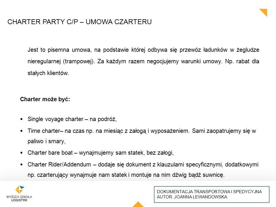 CHARTER PARTY C/P – UMOWA CZARTERU