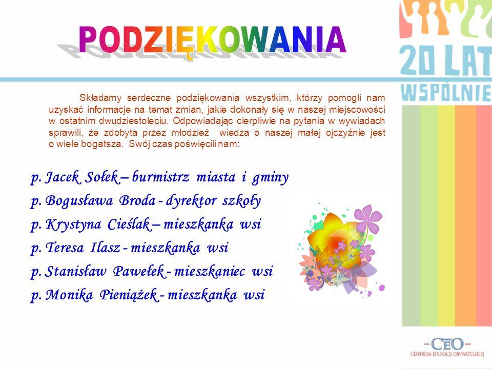 PODZIĘKOWANIA p. Jacek Sołek – burmistrz miasta i gminy
