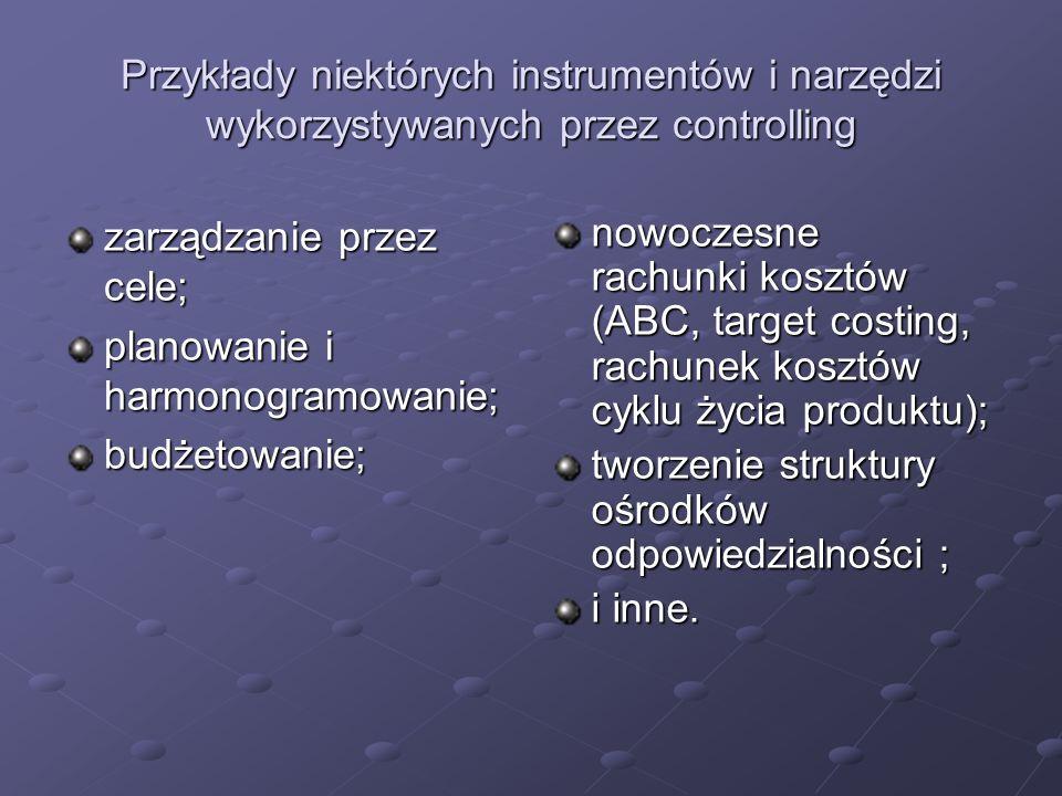 Przykłady niektórych instrumentów i narzędzi wykorzystywanych przez controlling