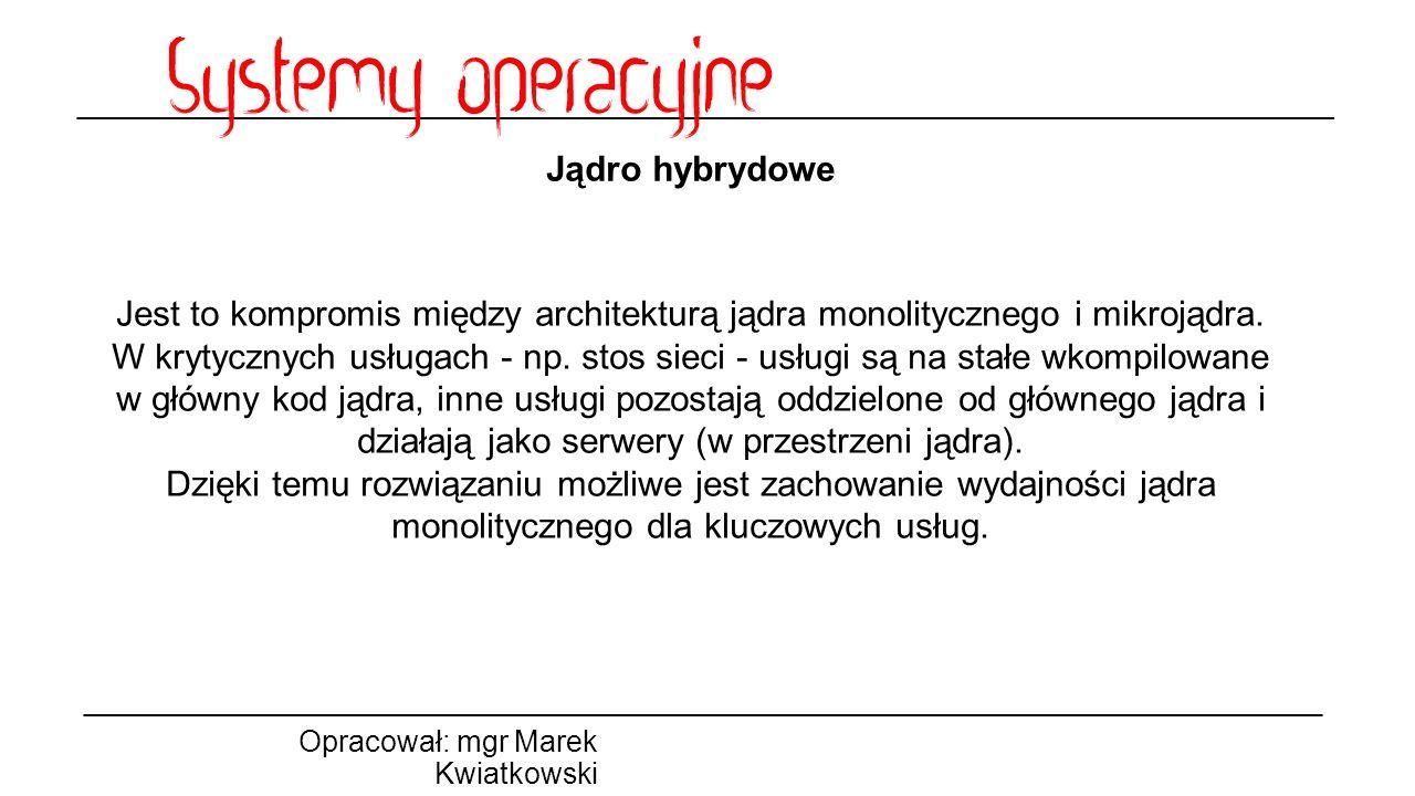 Jądro hybrydowe Jest to kompromis między architekturą jądra monolitycznego i mikrojądra.