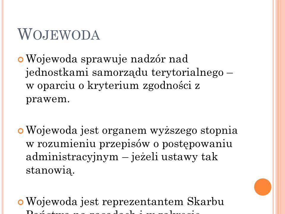 Wojewoda Wojewoda sprawuje nadzór nad jednostkami samorządu terytorialnego – w oparciu o kryterium zgodności z prawem.