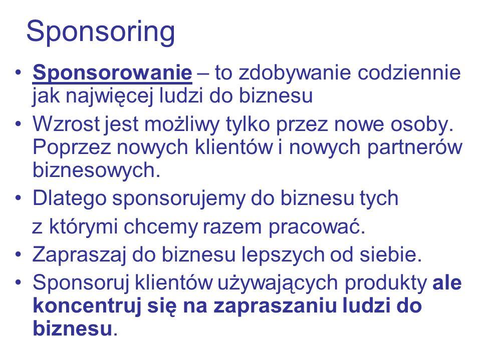 Sponsoring Sponsorowanie – to zdobywanie codziennie jak najwięcej ludzi do biznesu.