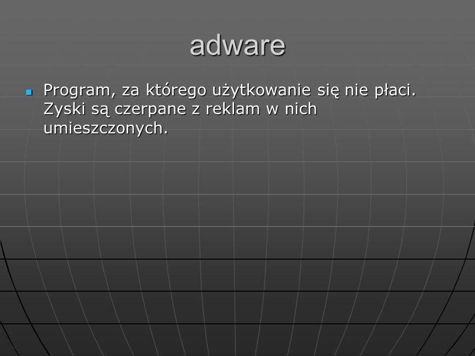 adware Program, za którego użytkowanie się nie płaci.