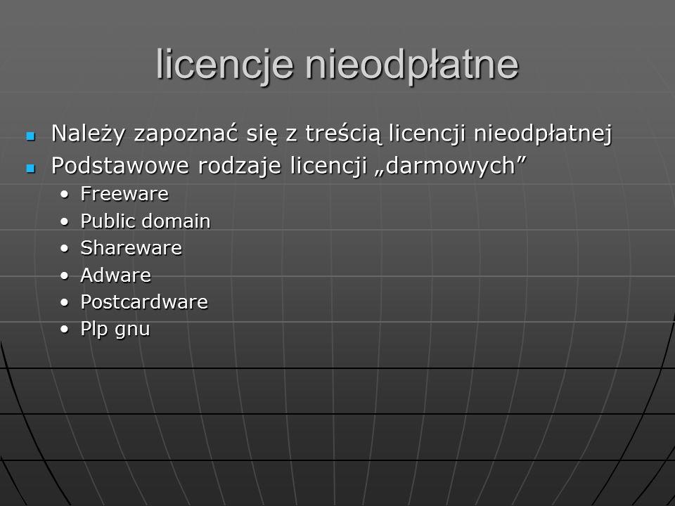 """licencje nieodpłatne Należy zapoznać się z treścią licencji nieodpłatnej. Podstawowe rodzaje licencji """"darmowych"""