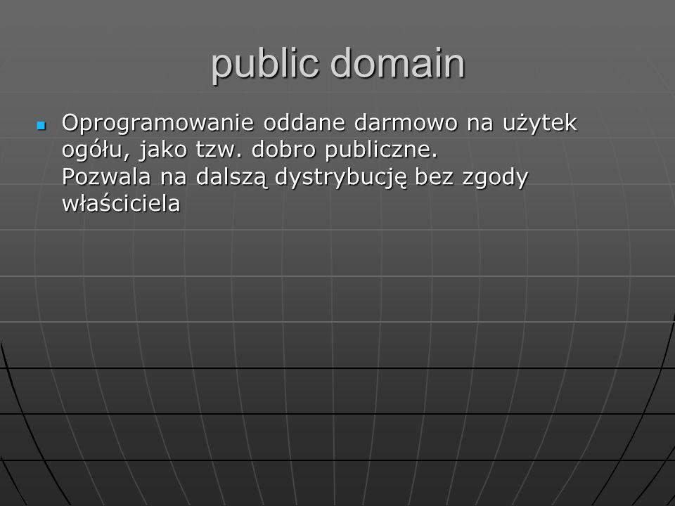 public domain Oprogramowanie oddane darmowo na użytek ogółu, jako tzw.