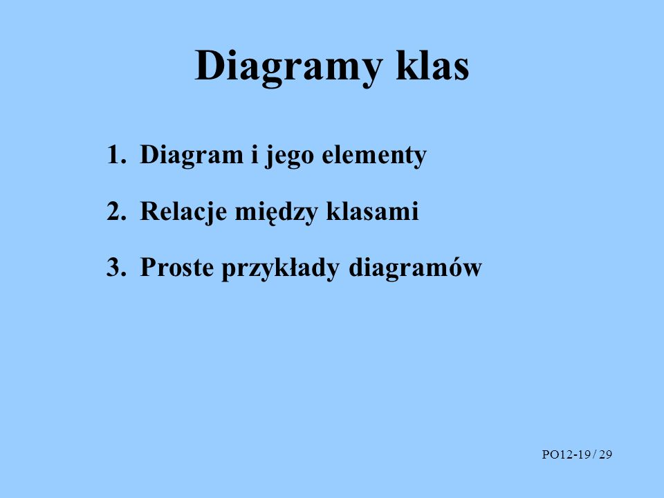 Diagramy klas Diagram i jego elementy Relacje między klasami