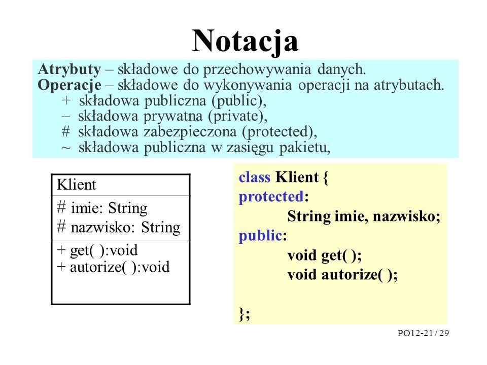 Notacja # imie: String # nazwisko: String