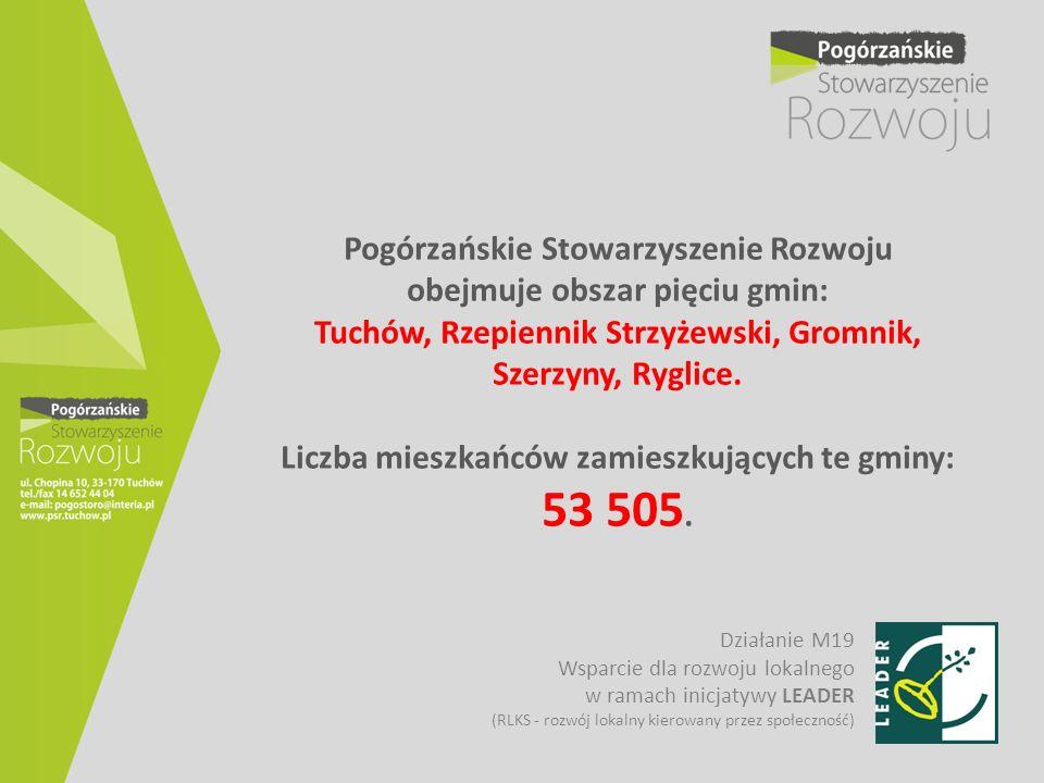 Pogórzańskie Stowarzyszenie Rozwoju obejmuje obszar pięciu gmin: Tuchów, Rzepiennik Strzyżewski, Gromnik, Szerzyny, Ryglice. Liczba mieszkańców zamieszkujących te gminy: 53 505.
